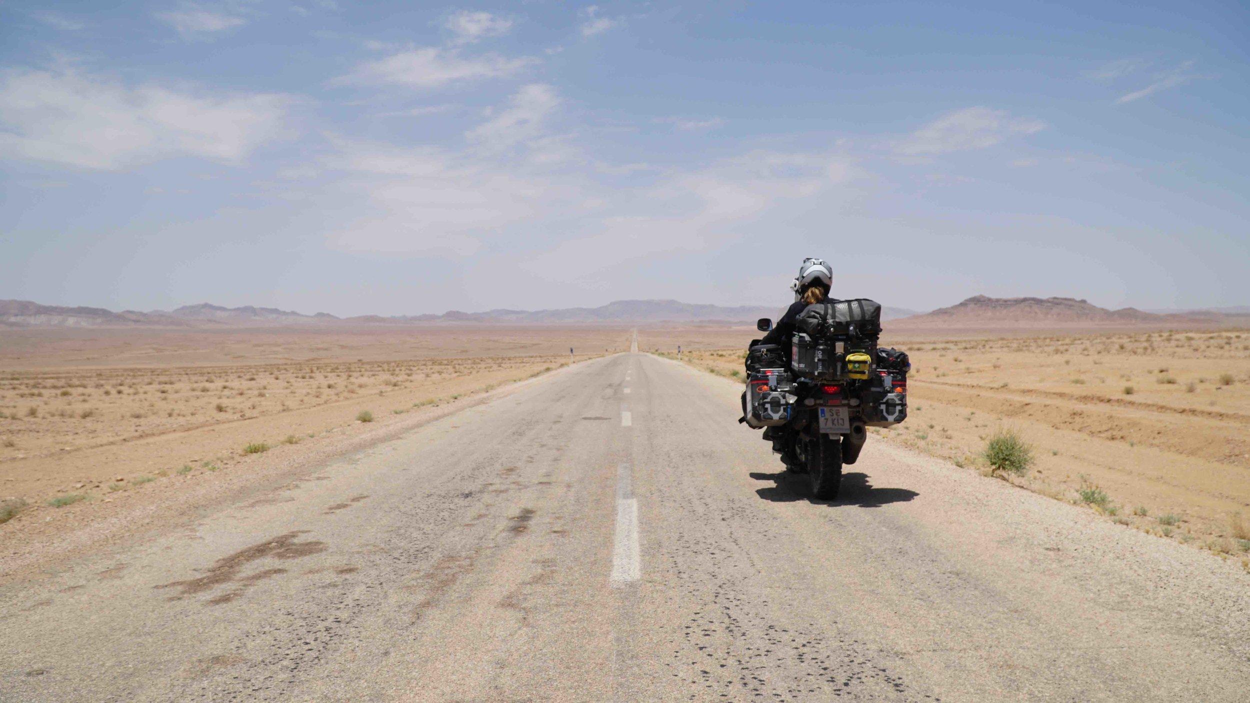 Riding through the desert of Iran