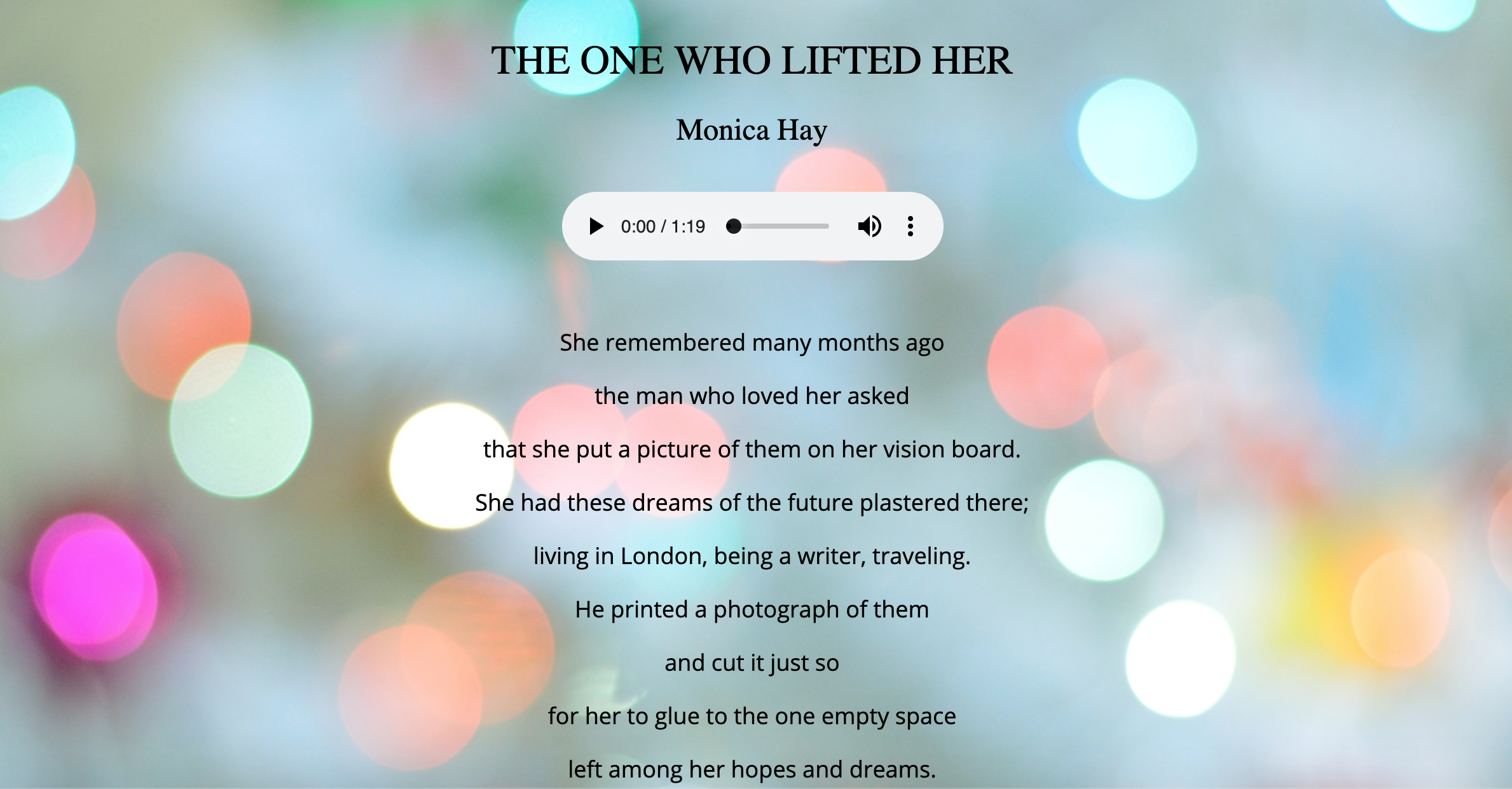 Poem by Monica Hay