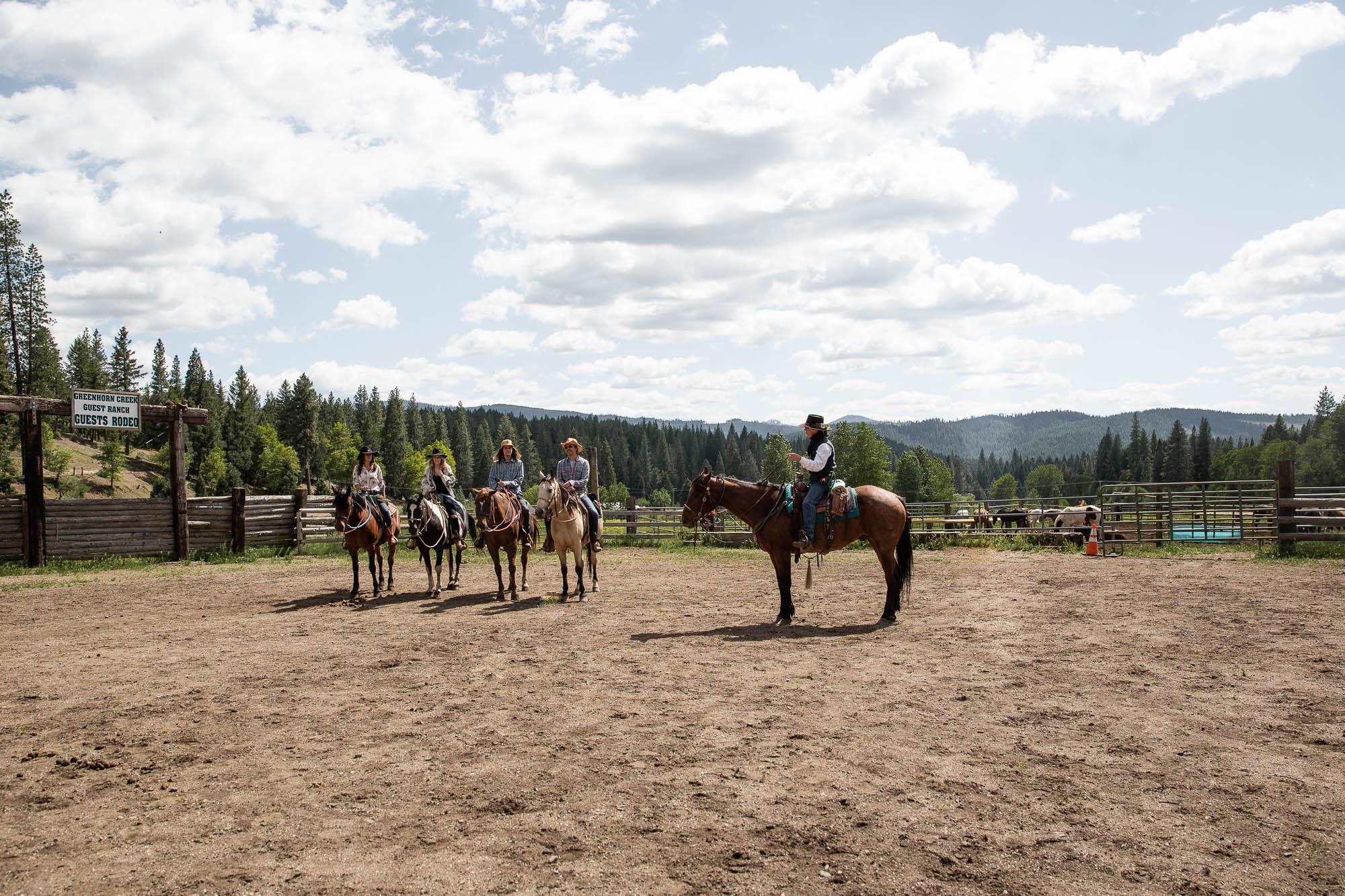 Family horseback riding at Greenhorn Ranch