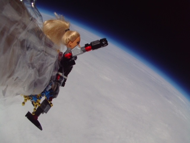 StratoBarbie took a ride 100,000 feet up, courtesy of the weather balloon.