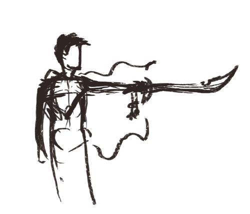 2012/2013 Lauren's original sketch for Weathered Blade card art