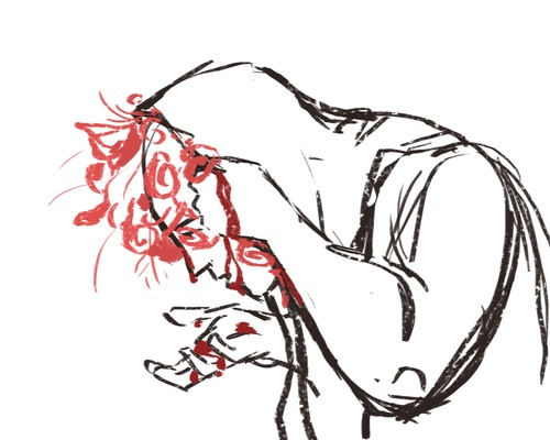 2012/2013 Lauren's original sketch for the Veil of Roses card art