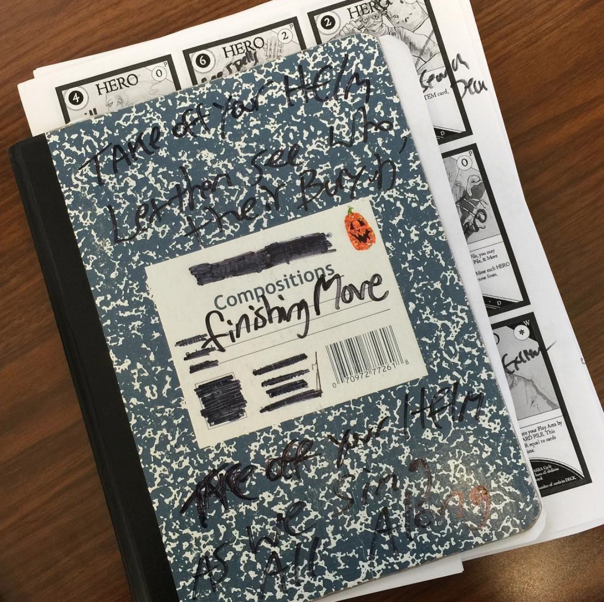 2015 Depression Era notebook used for songs and game design (EPIOCH cards pictured)