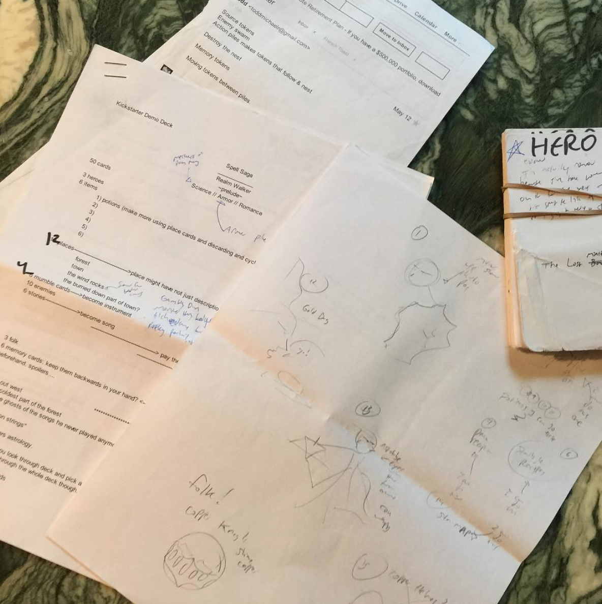 2015 original 2013 notes for rwPSAR photographed during 2015 game design