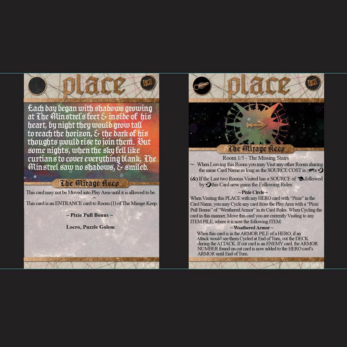 """2017 Deck 1.5 The Under Sky screenshot of PLACE & """"keep"""" card graphics (including typo)"""