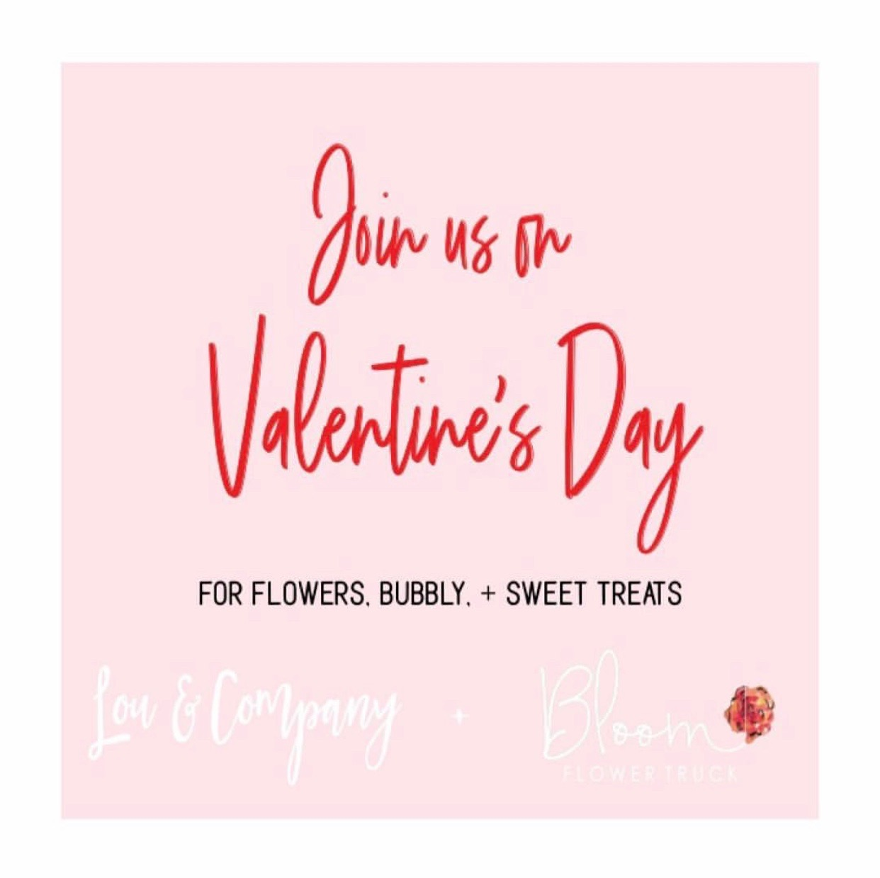 the official Lou & company valentine's day party advertisement