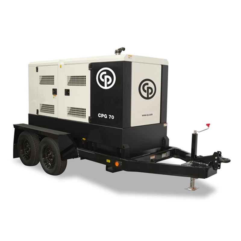Mobile Diesel Generator CPG 70 T4F  The CPG generator range was designed to meet the tough demands of the construction industry. The CPG 70 T4F has a rated prime power of 56 kW/70 kVA.