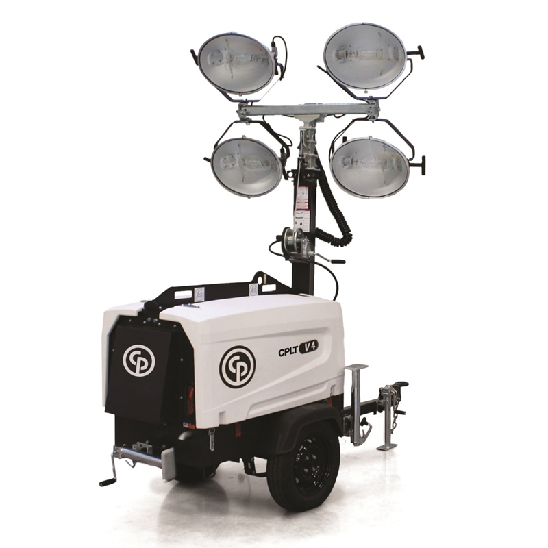 Light Tower CPLT V4  Because of the harsh conditions that light towers operate within, we focus on ensuring peak performance and optimizing lifespan and resale value. The CPLT V4 has 4 x 1000W floodlights with a maximum height of 25 feet.