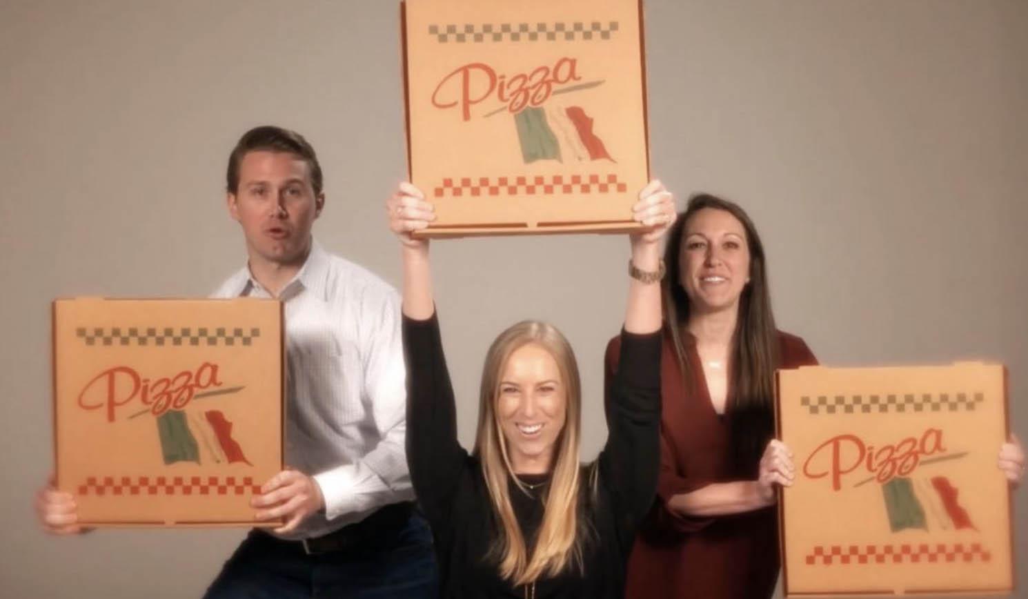Pizza boxes make good pom poms too!