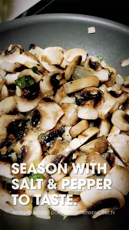 Screen Grab from Mushroom Cauliflower Rice filmed on a Samsung S8.