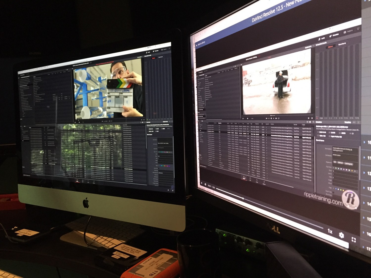 """Alexis Van Hurkmann's """"DaVinci Resolve 12.5 New Features"""" open on the right hand monitor. Entering metadata into my project on the left hand monitor."""