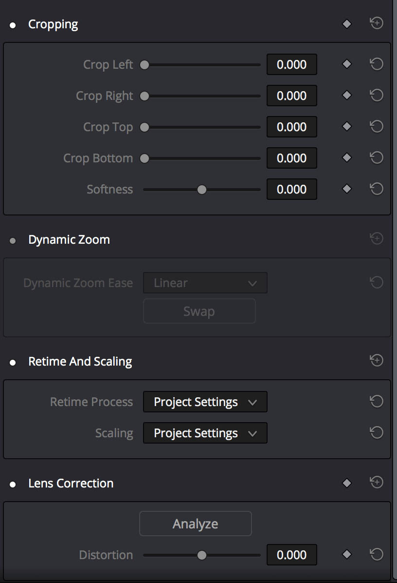 Additional controls in the Inspector Panel