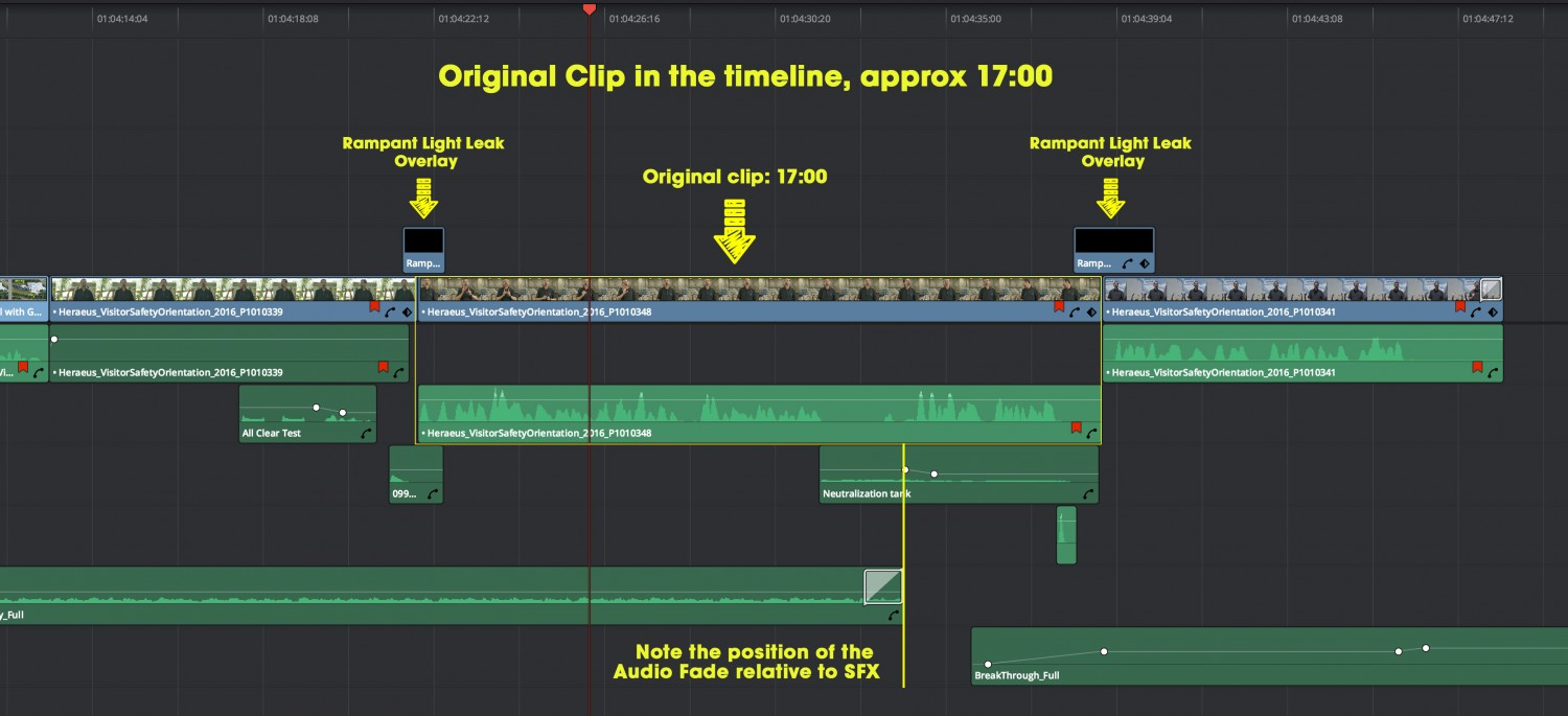 Ripple Overwrite Step One – 17 second clip needs to be replaced with a shorter one.