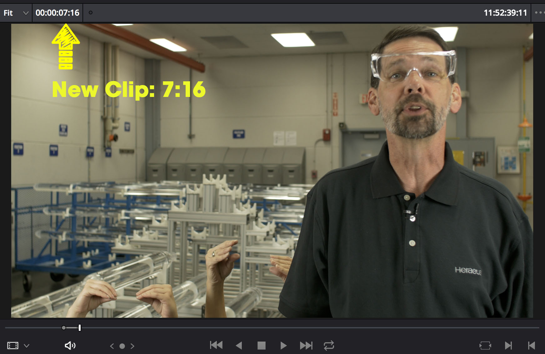 Ripple Overwrite Step Two – Replacement shot is 7:16. 10 seconds shorter than the original clip.