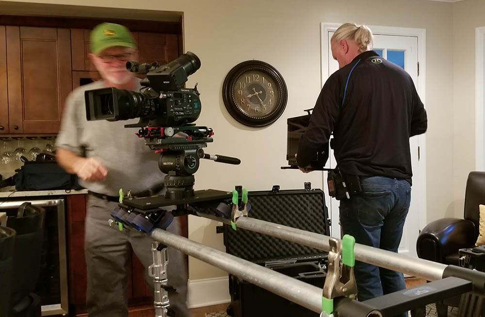 Prepping the FS7 on a slider for the first scene.
