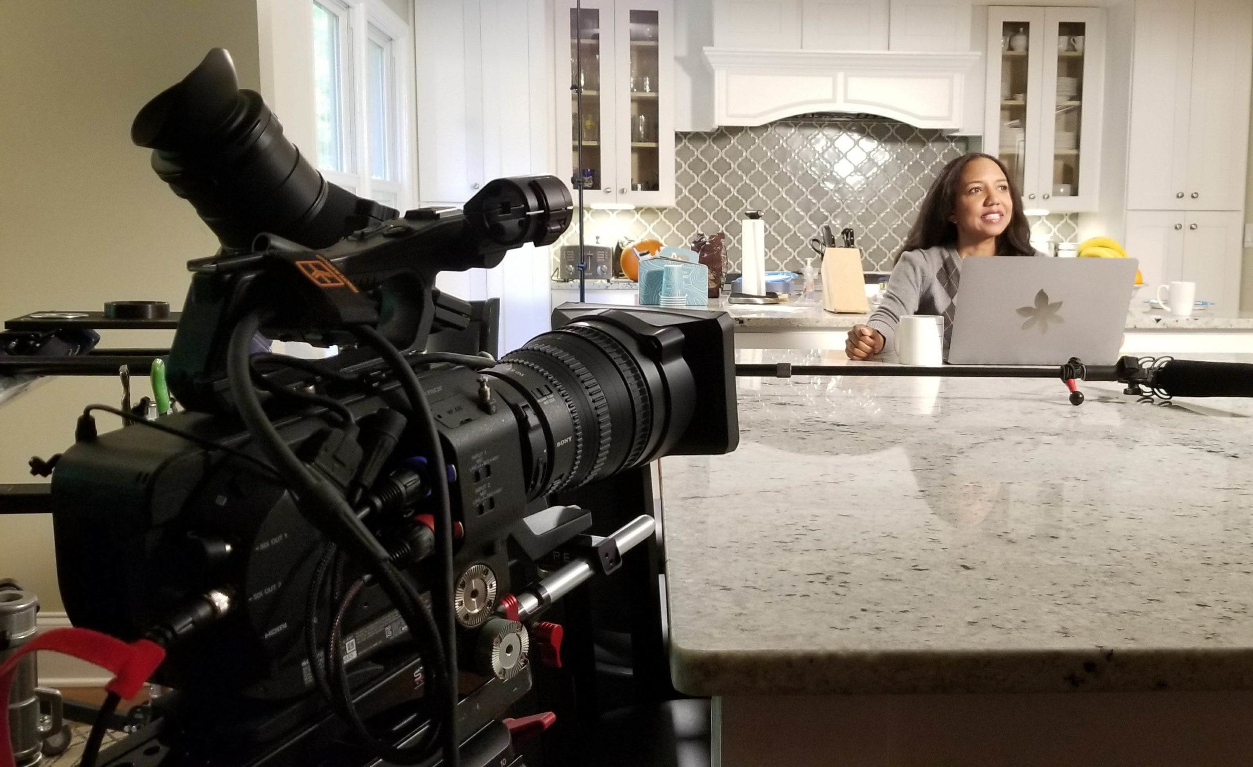 FS7 in position for a scene in the kitchen.