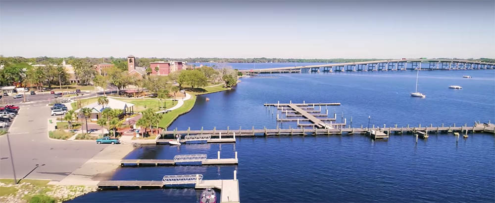 Palatka on the left in this drone image of the St. Johns River