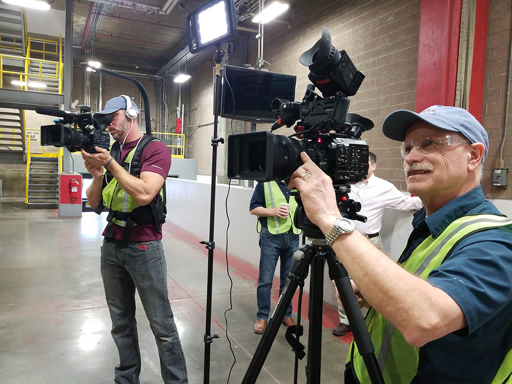 TJ and Marion filming inside the GP Muskogee Operation. Those small LitePanels Lykos lights to the right of Marion are amazing.