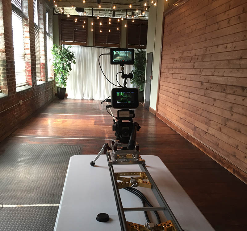 Blackmagic 4k Cinema Camera on the slider at the Tannery Row Ale House