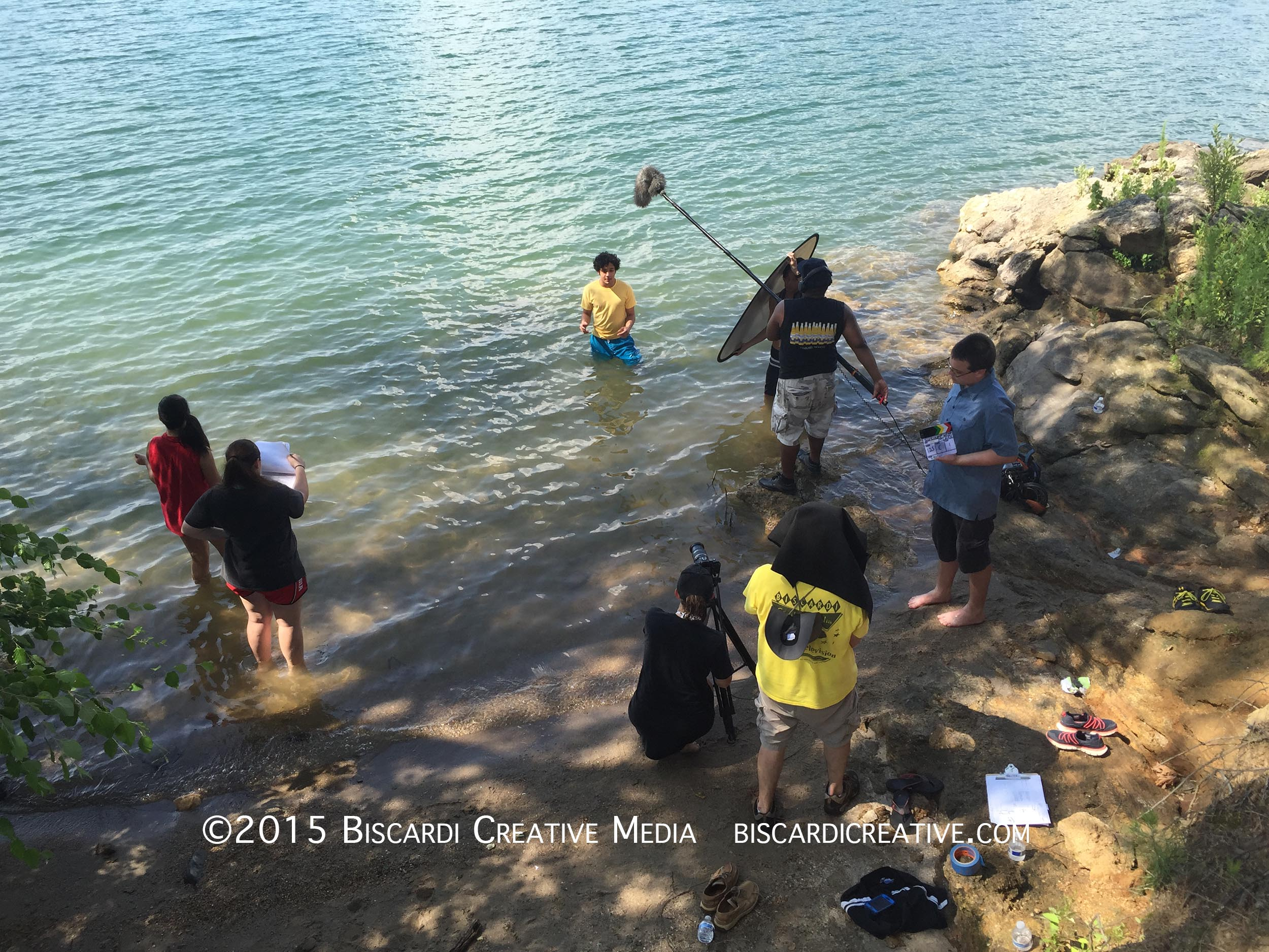 The whole crew in the lake, that's me in the yellow shirt under the hood.