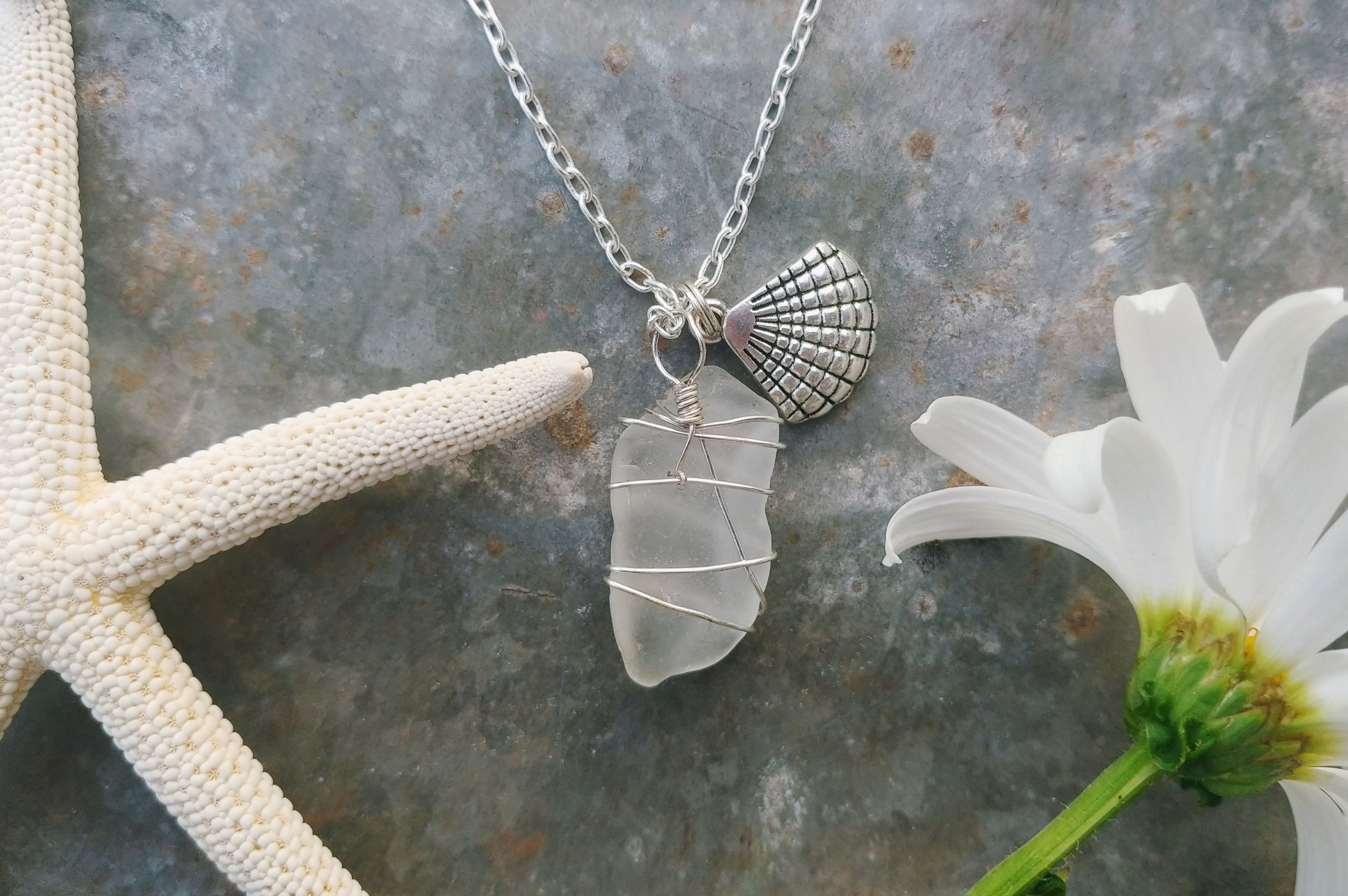 Beach Glass, Sea Glass, Wrapped Necklace, Small Cat Big World