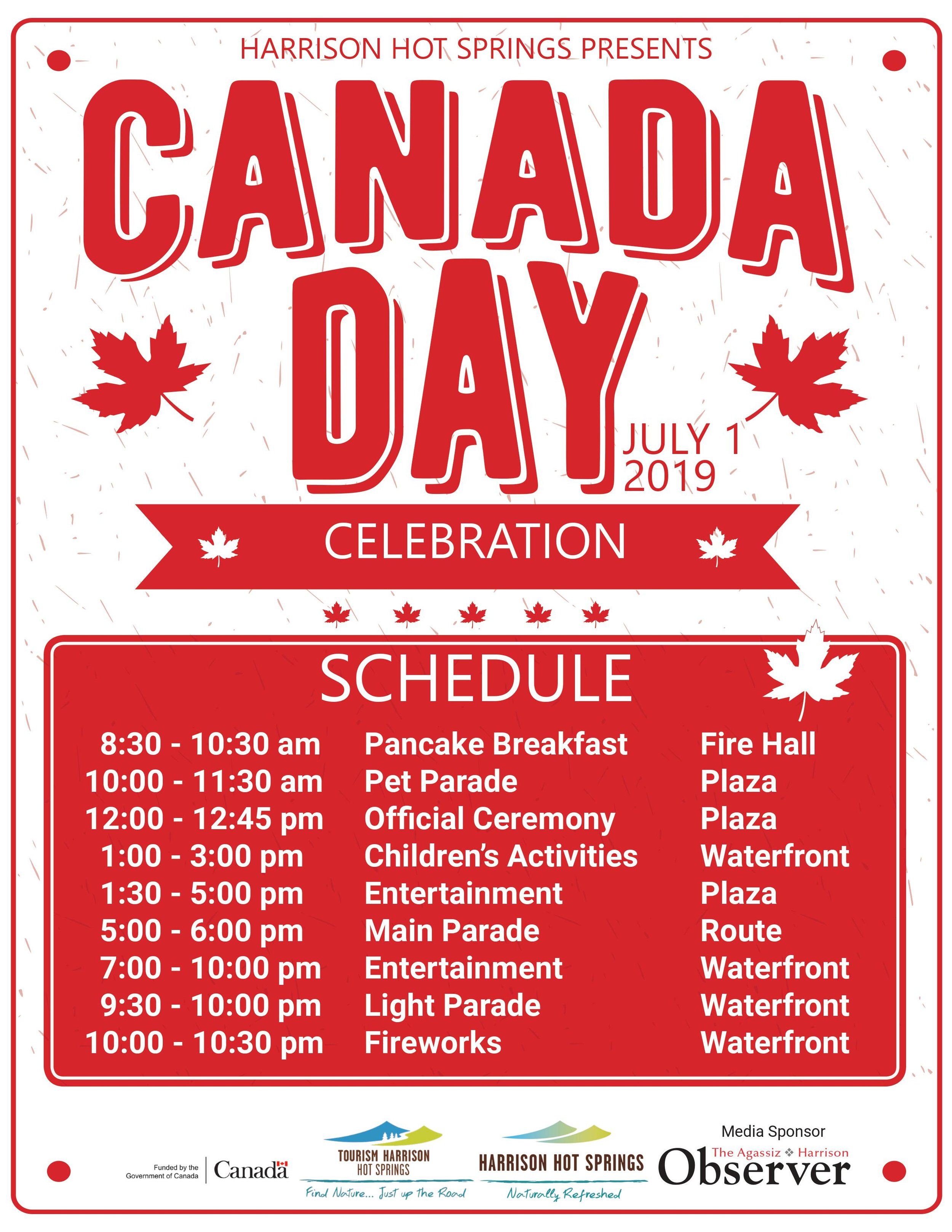 Harrison Hot Springs Canada Day Event Schedule (Original image found  here )
