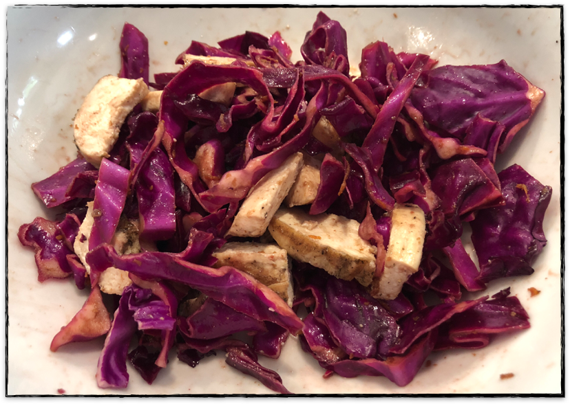 Red Cabbage Salad with Pulled Chicken