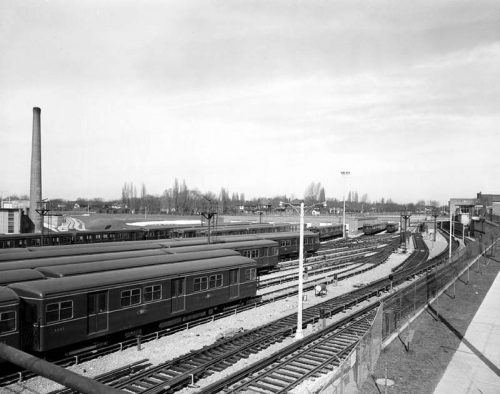 Subway cars in Davisville yard, looking north, March 11, 1954 Photographer: Canada Pictures Limited City of Toronto Archives as found on toronto.ca