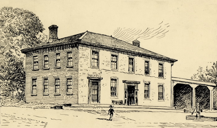 Paul Pry Hotel at Yonge and Davisville, south east corner Drawing by Bernard Joseph Gloster, 190? From  Toronto Public Library Archives