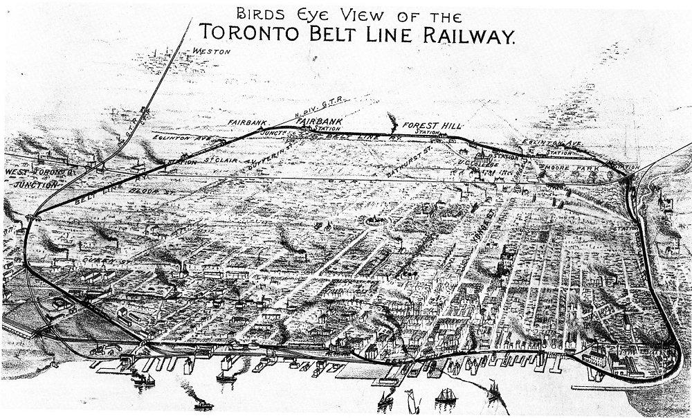 Toronto Belt Line Railway Map , Toronto Railway Historical Association