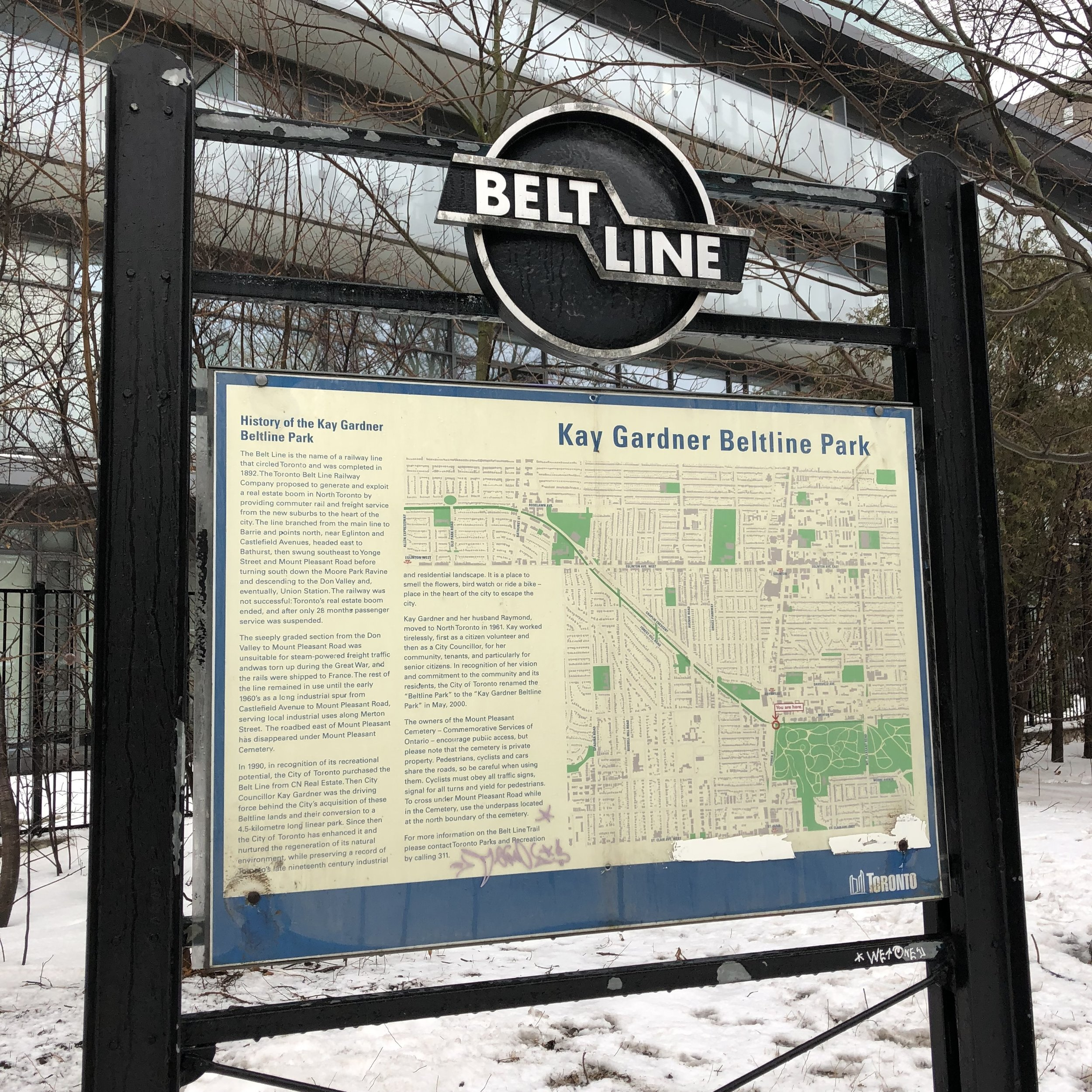 """""""In 1990, in recognition of its recreational potential, the City of Toronto purchased the Belt Line from CN Real Estate. Then City Counsillor Kay Gardner was the driving force behind the City's acquisition of these Beltline lands and their conversion to a 4.5 kilometre long linear park."""""""