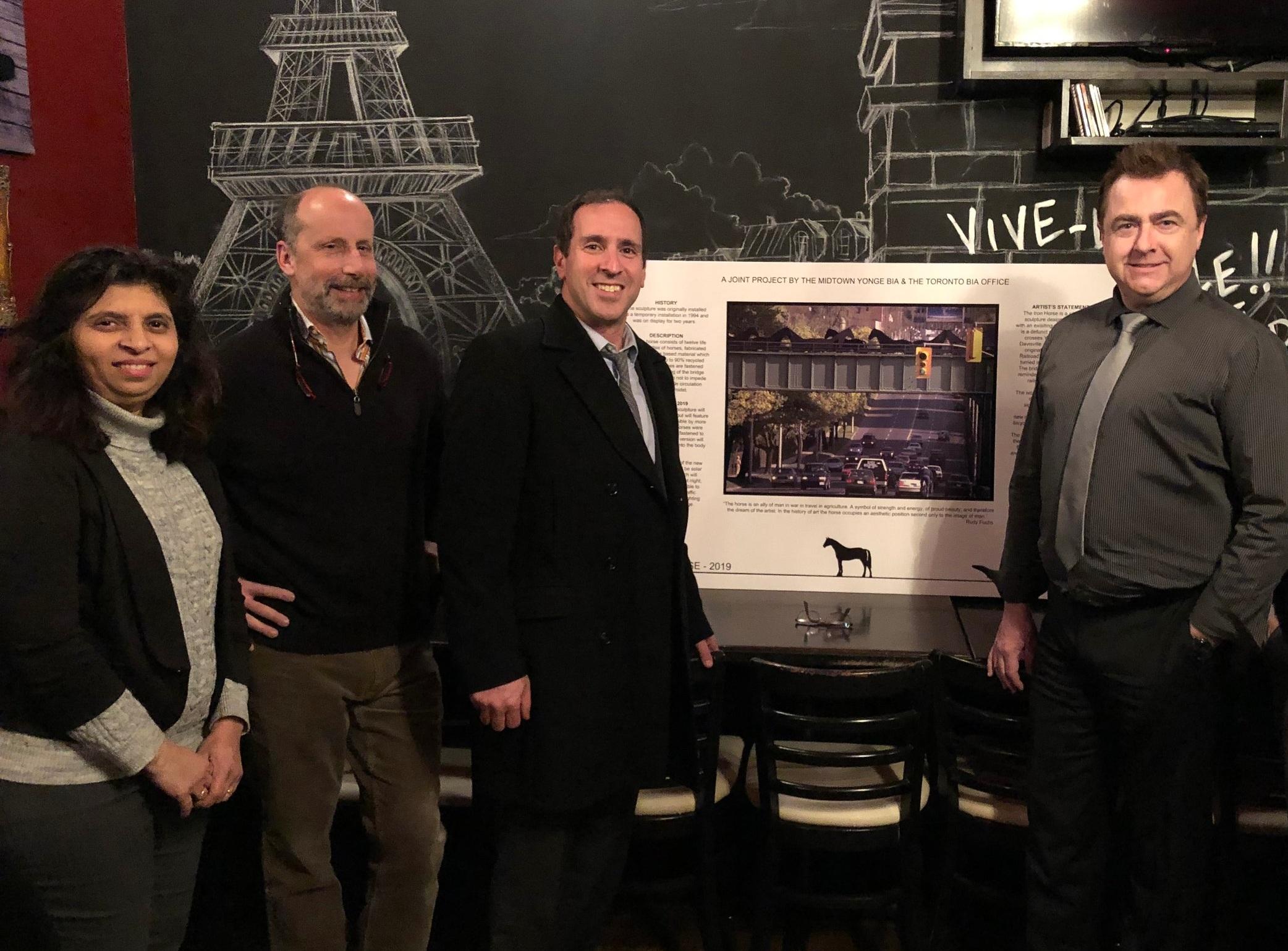 Raj Kumar (City of Toronto), Robert Sprachman (Artist), Josh Matlow (City Councillor for Toronto-St. Paul's), and Andrew Flint (Executive Director, Midtown Yonge BIA)