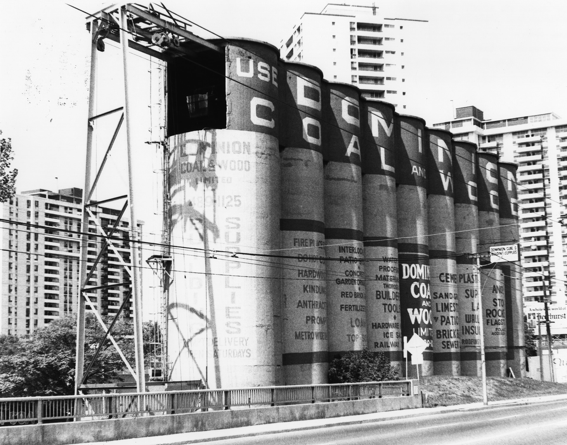 Dominion Coal and Wood Ltd. silos, Merton Street, southwest corner of Mount Pleasant Road, Toronto, Ont Image c/o Toronto Public Library Archives, 1981