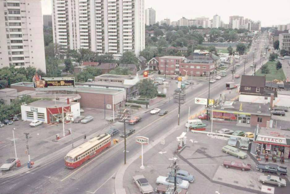 View of Mount Pleasant and Merton from above - here you can see three different gas stations (two on the west side and one on the east) Photo from  Chuckman Toronto Nostalgia