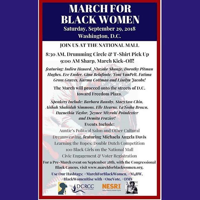 #MarchForBlackWomen tomorrow in #WashingtonDC - don't miss this amazing line-up of speakers!
