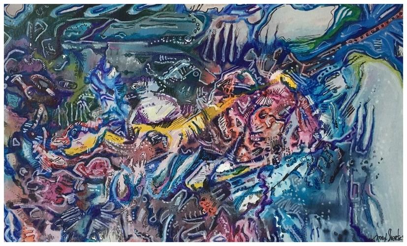 Watcher On The Moon 1999 9x14 Mixed Medium