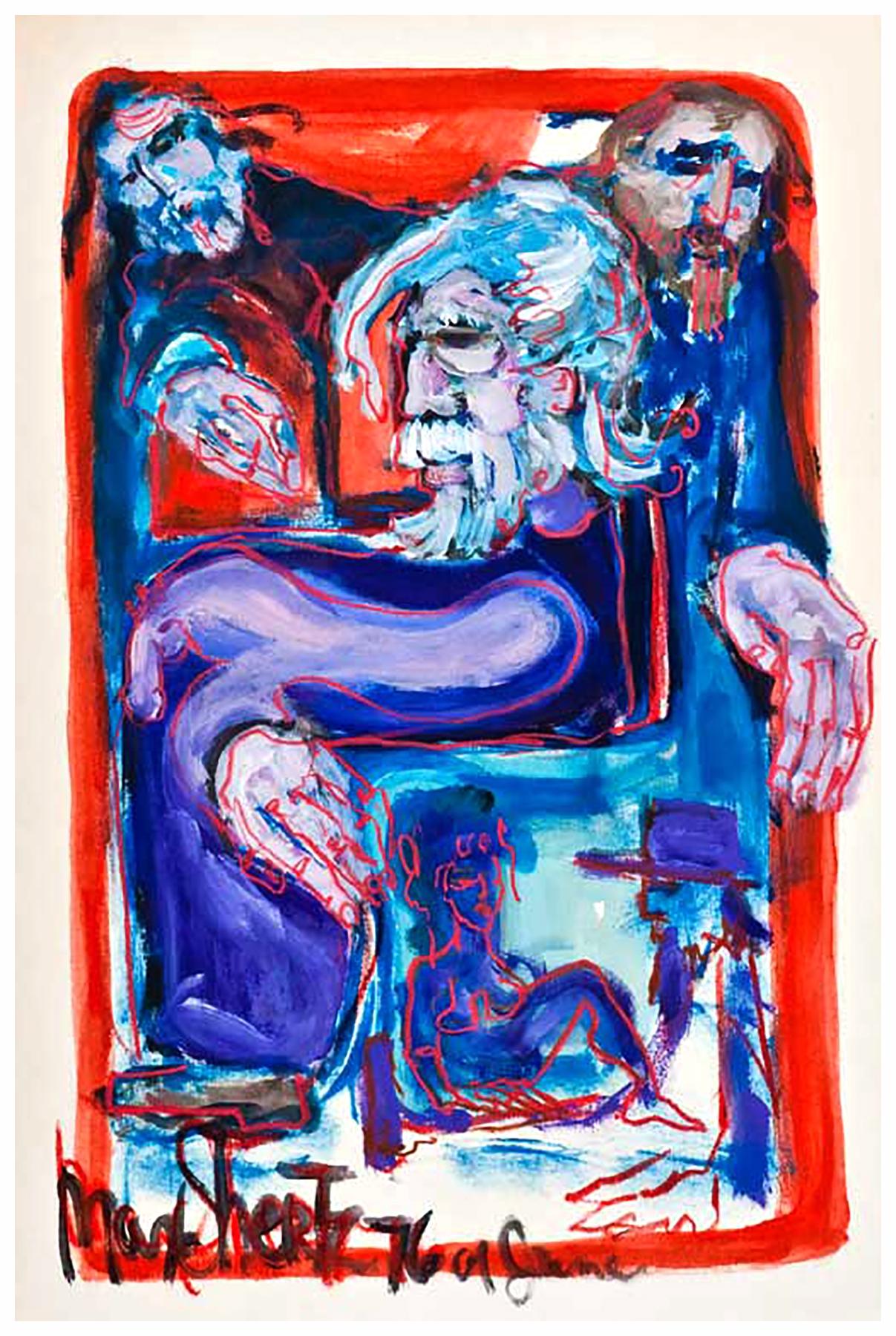 Suzannah And The Elders 1976 36x24 Mixed Medium