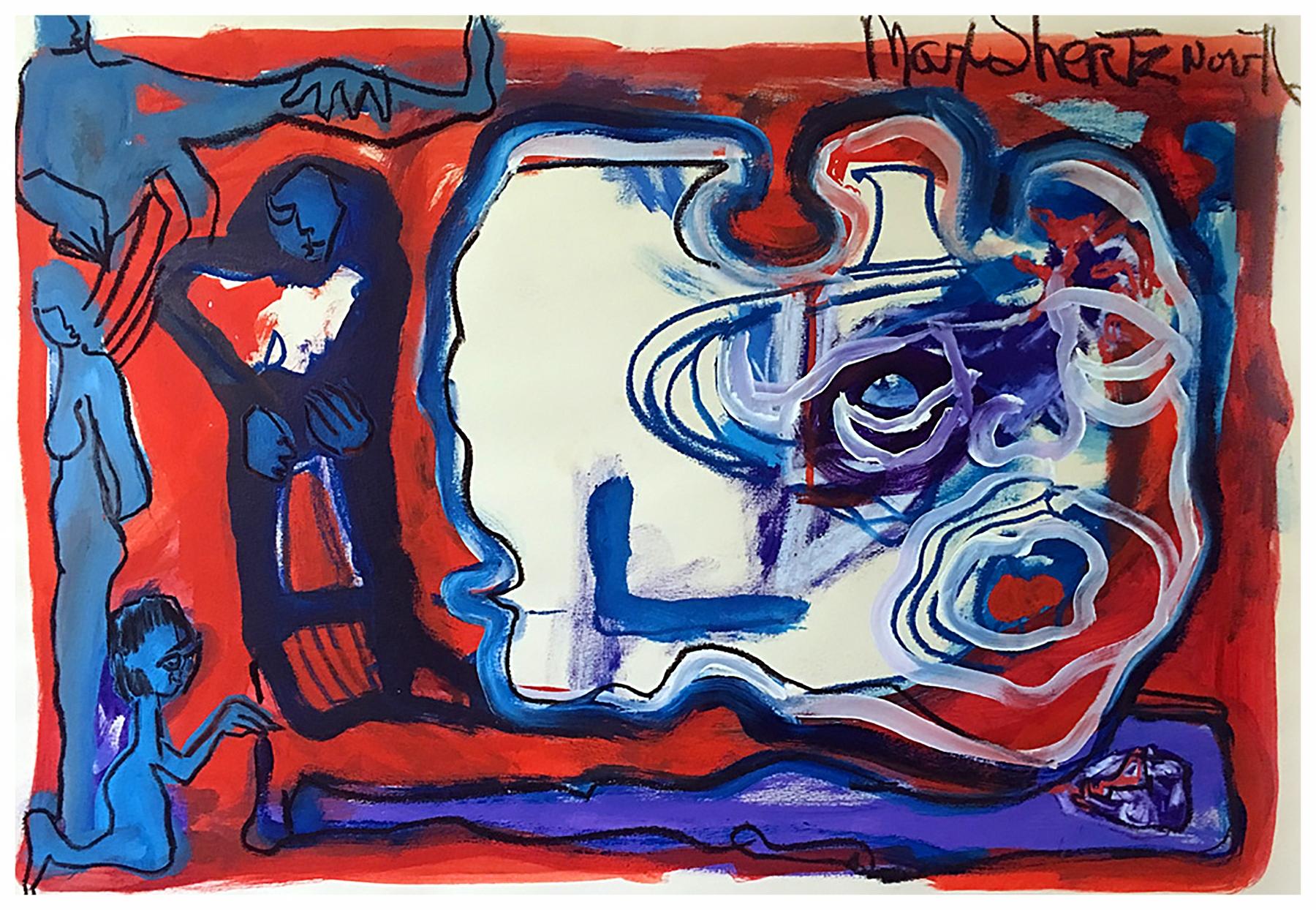 Scream Revisited 1976 22x30 Mixed Medium