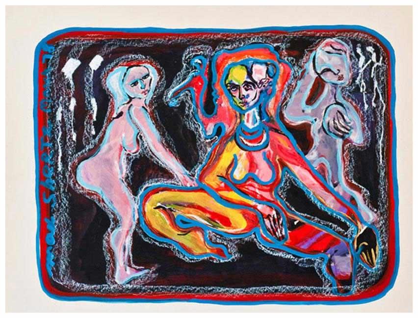 The Yoga Lesson 1978 20x26 Mixed Medium