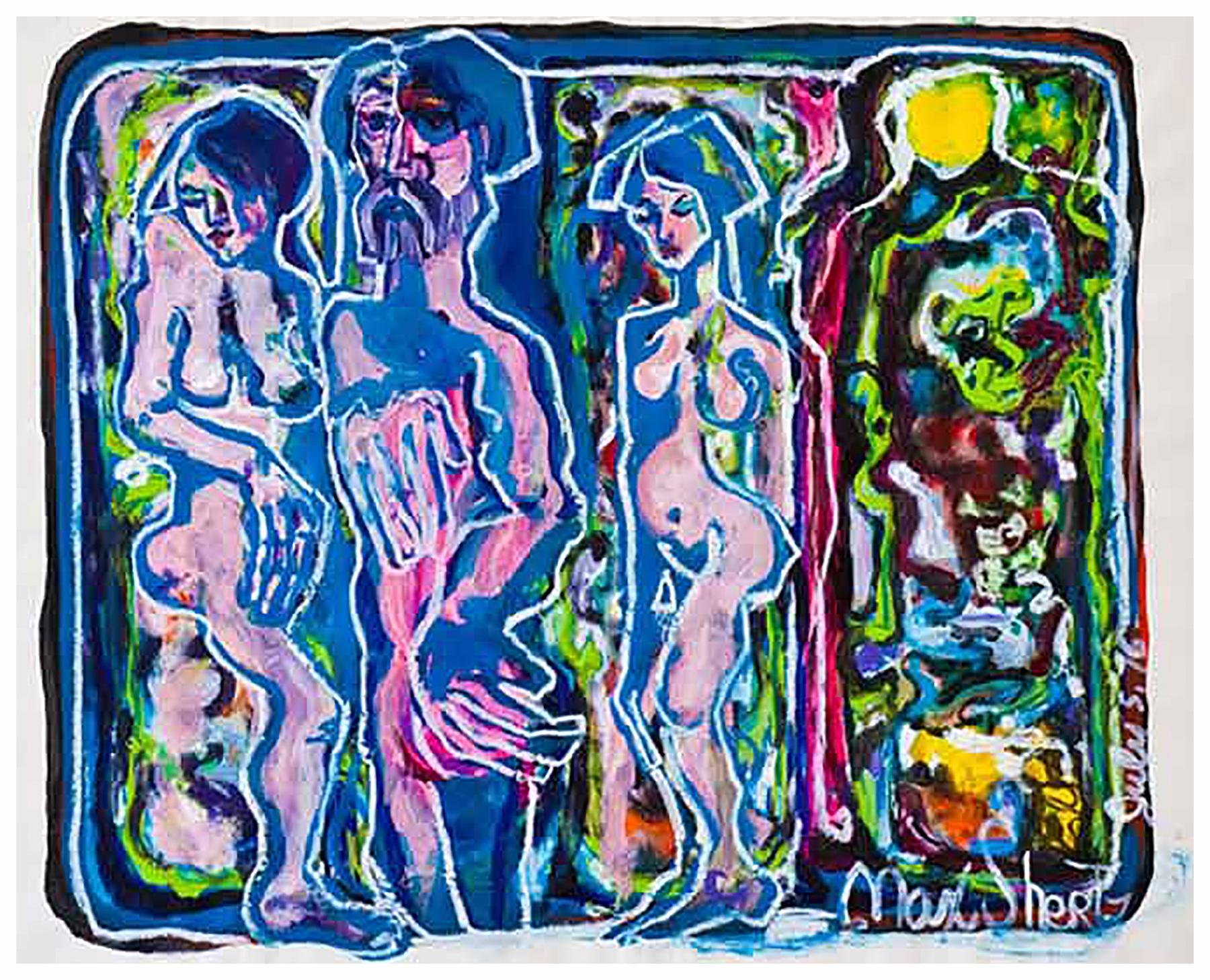 The Unborn 1976 18x24 Mixed Medium