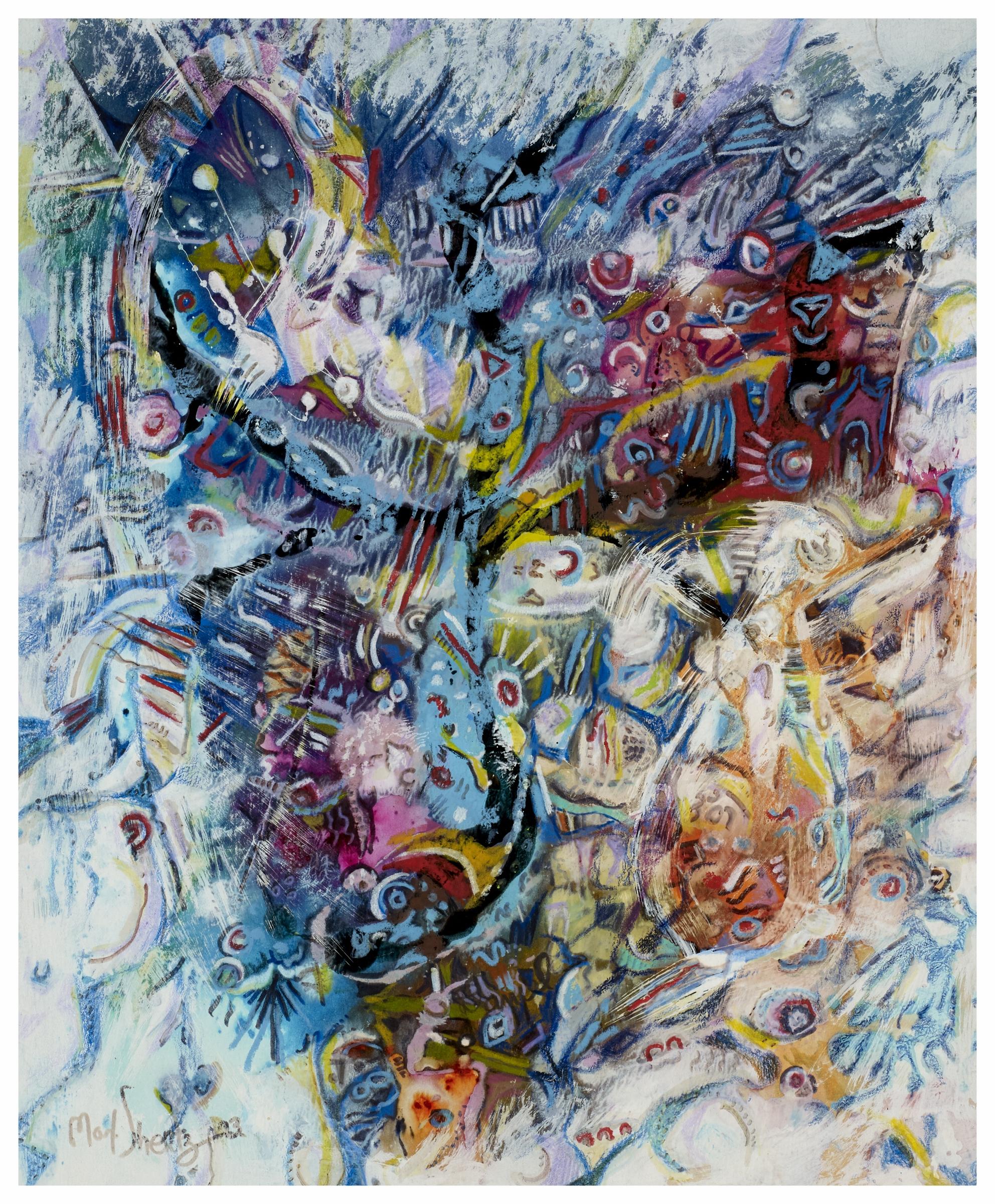 Futuristic Symphony 1993 17x14 Mixed Medium