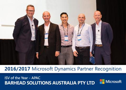 Left to right: Simon Davies (Microsoft), Barhead Directors - Ken Struthers, Chris Lee, John Orrock, Henrick Salicath (Microsoft) (Photo: Business Wire)