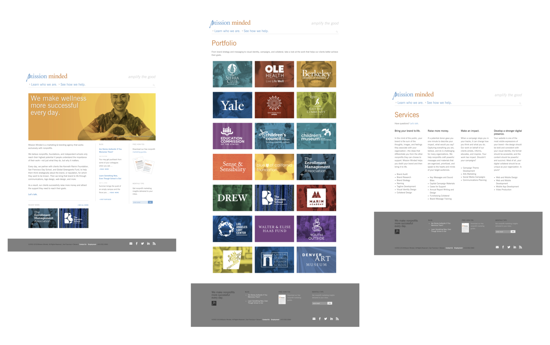 Mission Minded's existing website: homepage, portfolio landing page, services page.
