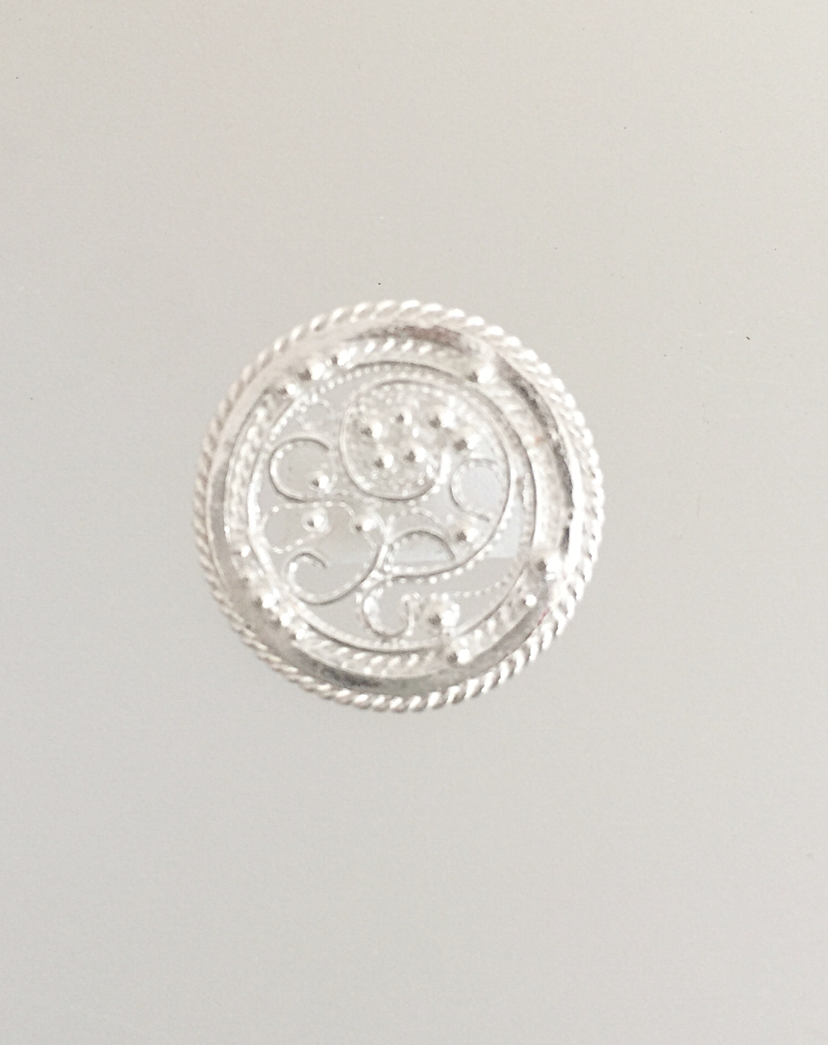 Round Filigree With Twisted Wire Border and Many Small Balls