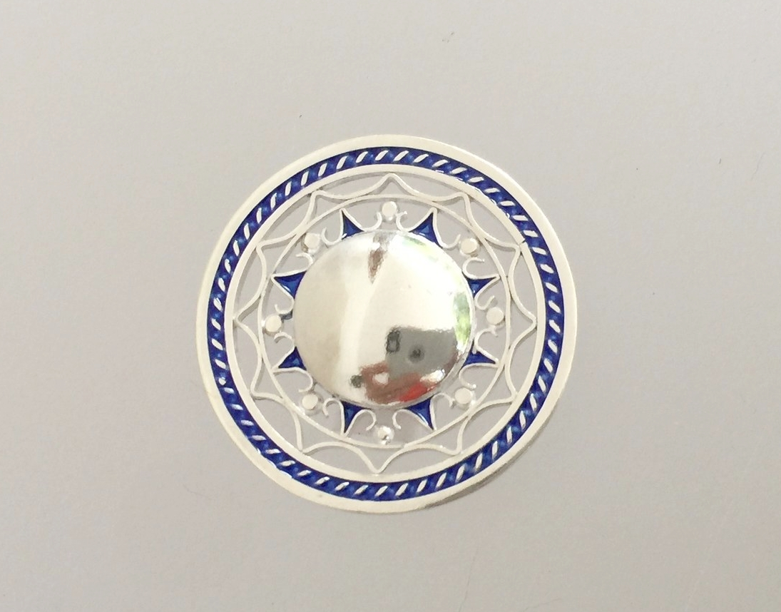 """Fine Silver, Plique-a-Jour Enamels  Approximately 1-1/4"""" diameter"""