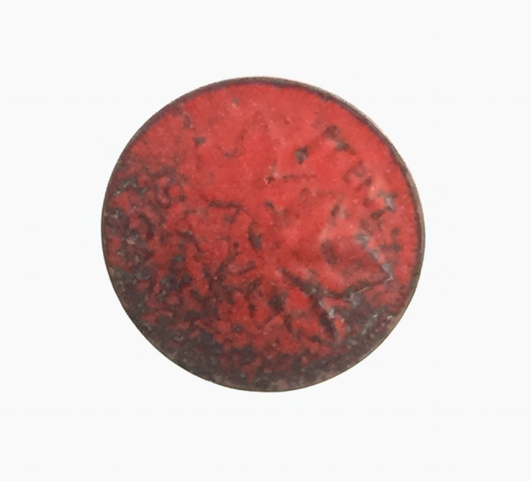 Ancient Looking Red Enamel on Canadian Penny