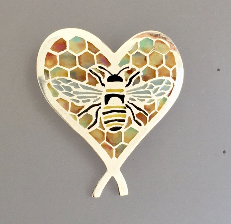 Bee in Multi-Colored Honey Comb Heart