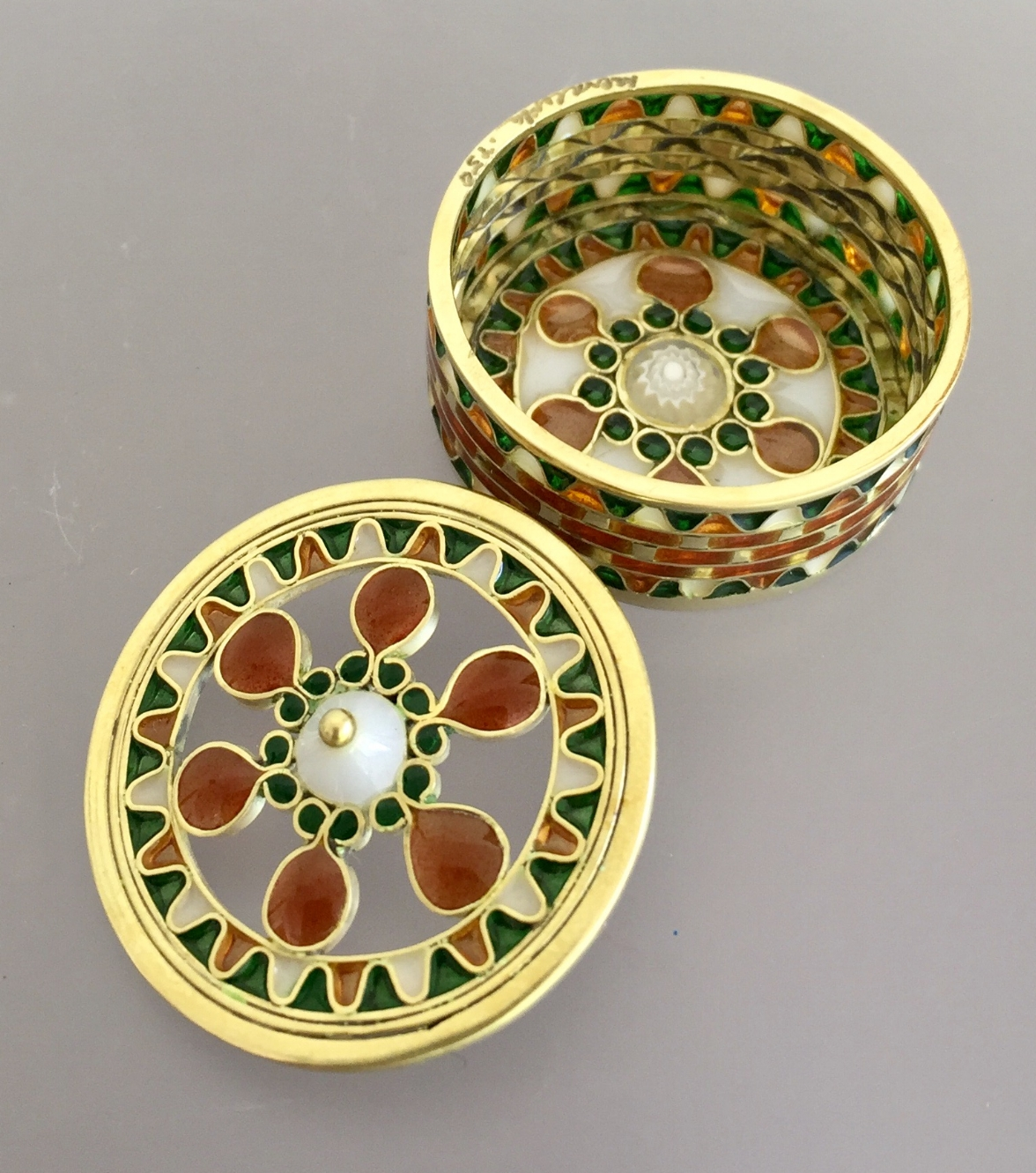 Golden Treasure Box - County Cork Open Work 18K Gold Button Lid with Optional Container Base