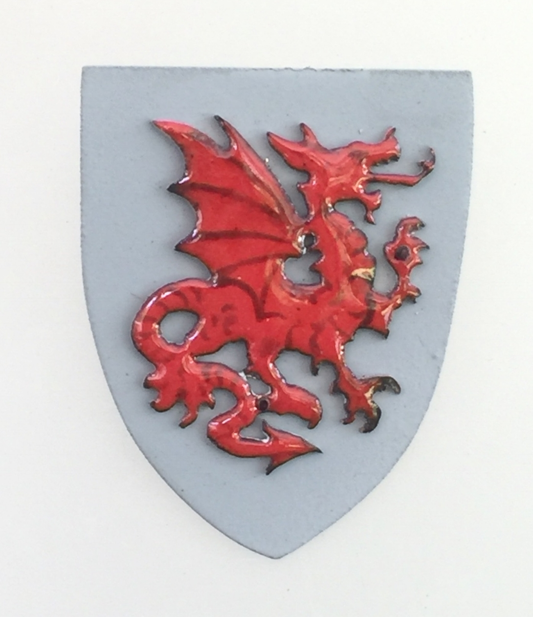 Red Dragon on Grey Shield