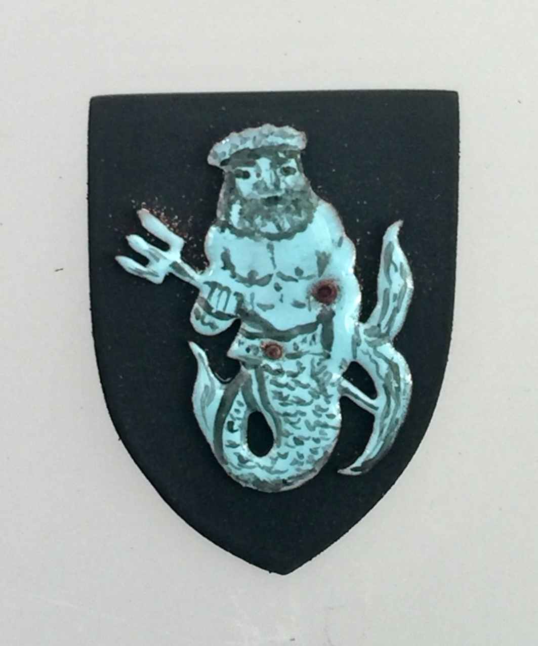 Blue Merman/Poseidon on Black Shield